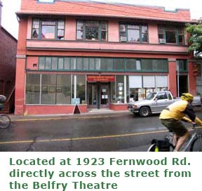 Fernwood Community Association office where studio time is located nearby for Pandora Arts Collective Society operates